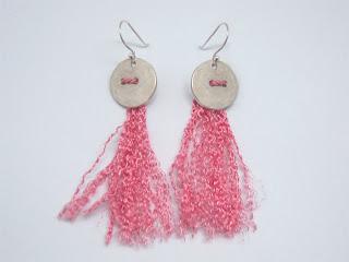 silk, sterling silver, pink, tassel, earring