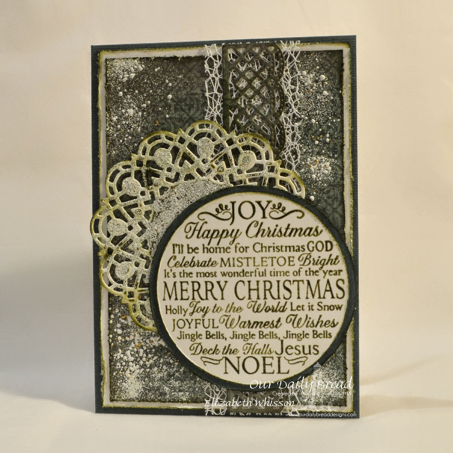 Our Daily Bread Designs, Noel Ornament, Doily Dies, Matting Circles Dies, Circle Ornament Dies, Beautiful Borders Dies, ODBD Christmas Paper Collection 2013, Designed by Elizabeth Whisson
