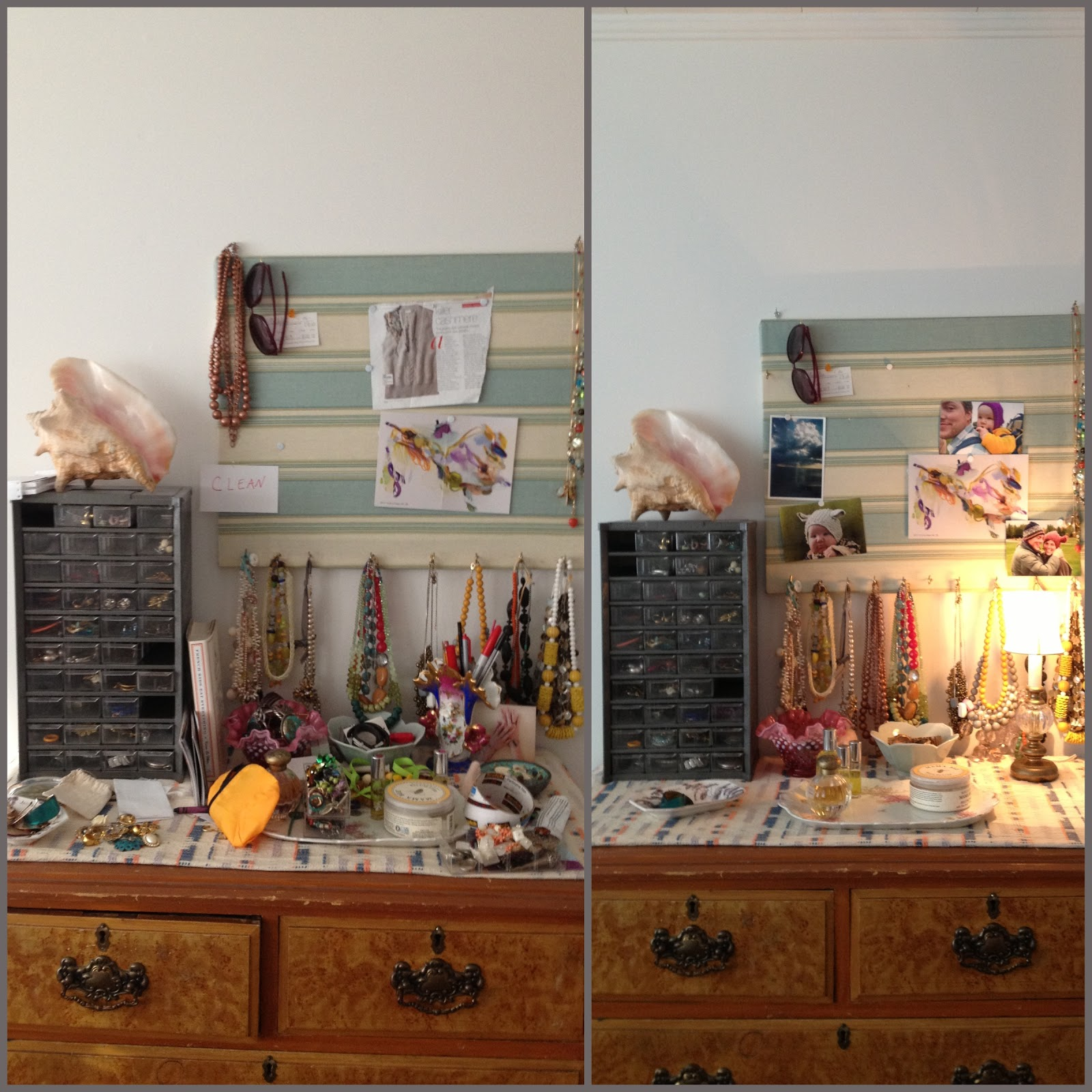 Before And After Organizing My Jewelry Dresser Top