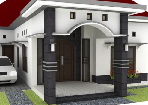 gambar contoh desain teras rumah gaya klasik dan religius