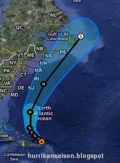 Der Tropische Sturm MARIA lässt es langsam angehen, Maria, Atlantik, aktuell, Dominikanische Republik, Puerto Rico, Verlauf, Atlantik, September, Hurrikansaison 2011, Hurrikansaison 2011, Image, Vorhersage Verlauf Tropischer Sturm MARIA vom 11. September 2011 nachmittags