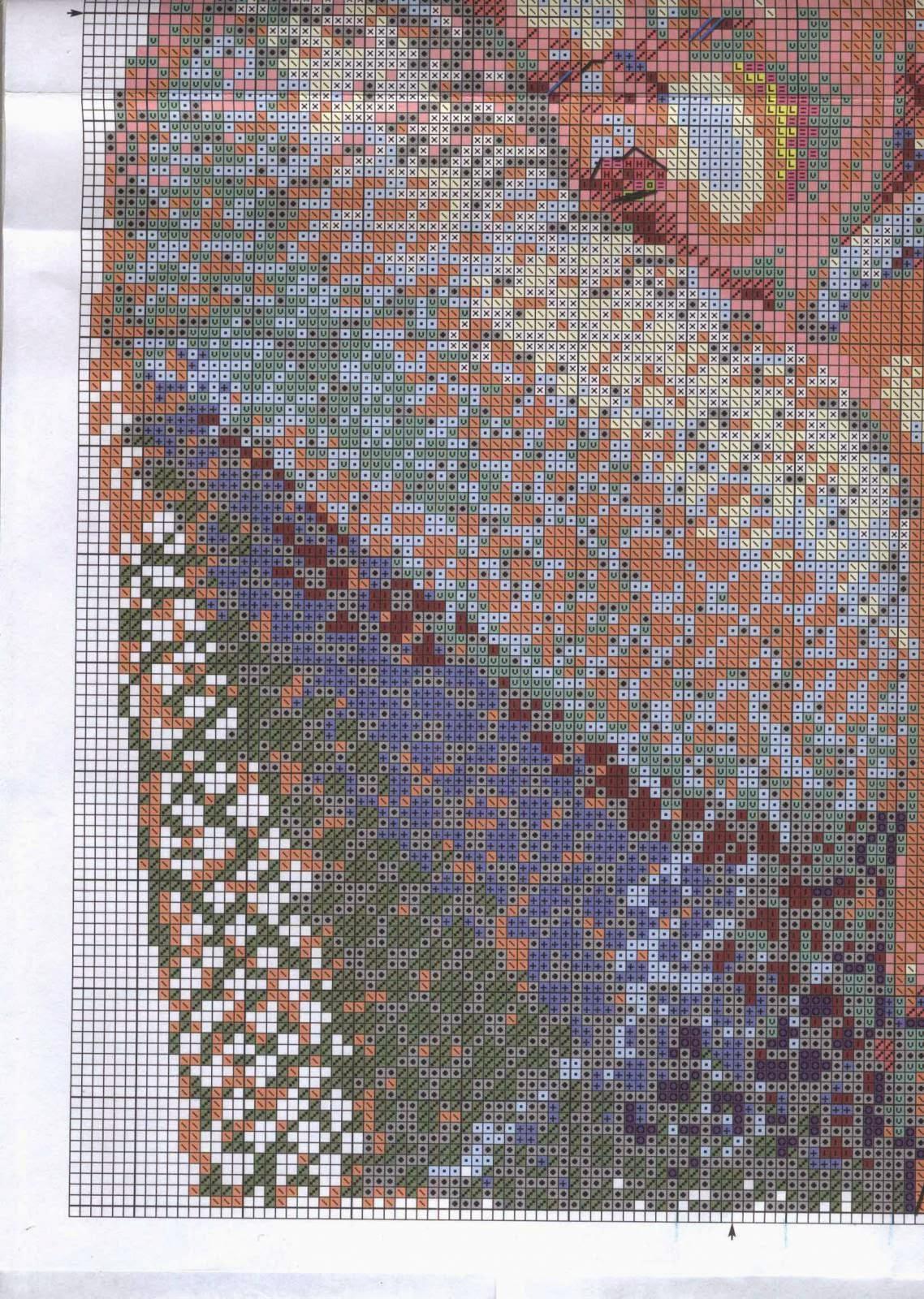 схема вышивки крестом нежность волков
