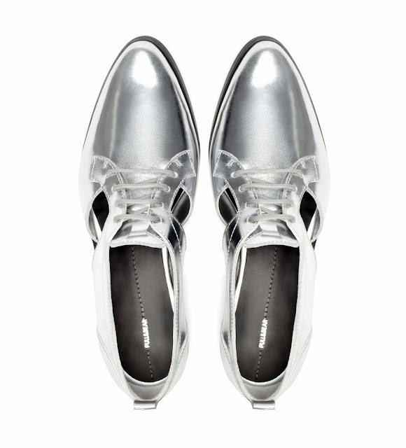 Pull & Bear unusual stylish metallic flat shoes for women