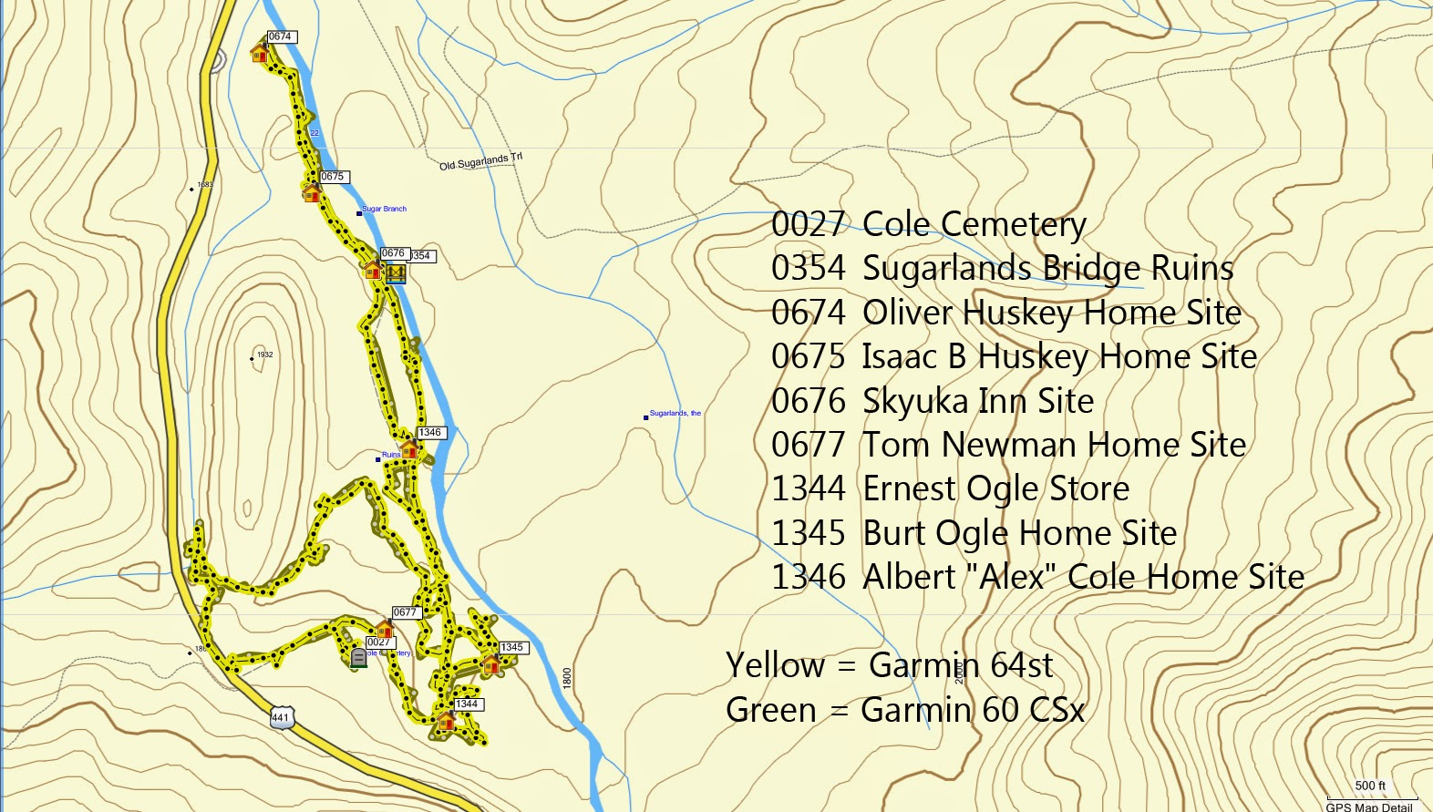 on this map it is hard to distinguish much difference between the two gps tracks so let s zoom in a bit