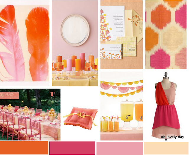Inspiration board orange pink punch oh lovely day
