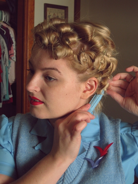 Tutorial a marilyn pin curl set va voom vintage with brittany i love the sculpture pin curl tool because you can get two sizes of curls i never thought id need to use the smaller side of the tool but for this set urmus Gallery