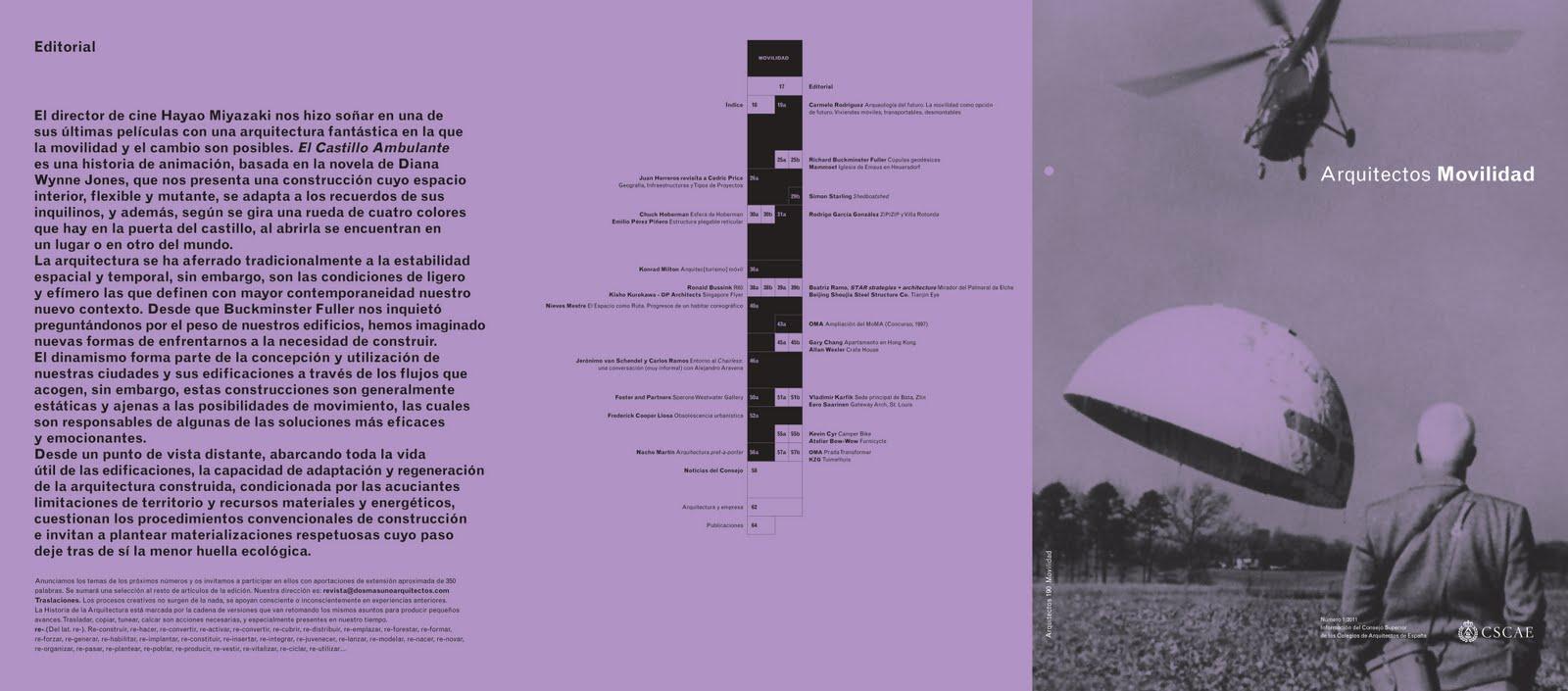el primer nmero de de la revista arquitectos arquitectos movilidad editada por el cscae y dirigida por sale a la luz