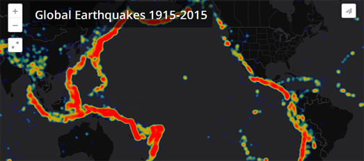 Maps mania one hundred years of earthquakes kenneth davis has been busy visualizing one hundred years of earthquakes he has created three different maps from the data to show earthquake activity gumiabroncs Image collections