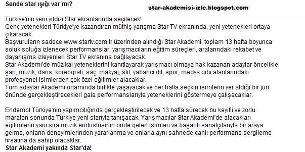 star akademi açıklama