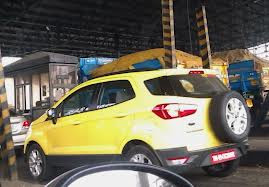 Yellow Ford Eco SPort spied in  in Chennai