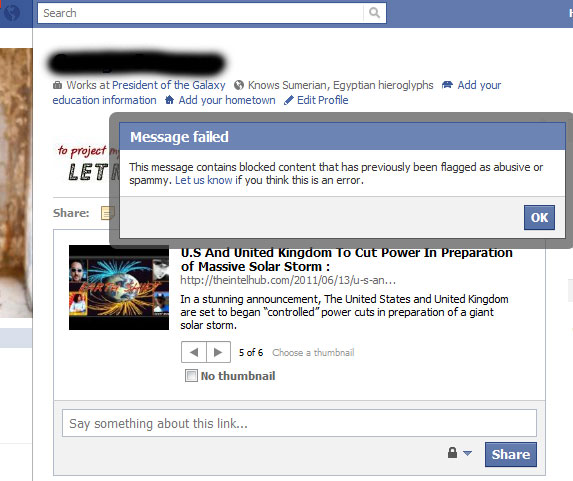 Facebook Censoring Some Alternative News Sites While Allowing Hackers To Attack Others  Facebook No Allowing Users To Share Articles From The Intel Hub