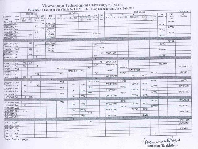 Vtu time table 2011 vtu time table 1st sem b e june 2011 for Davv time table 6th sem