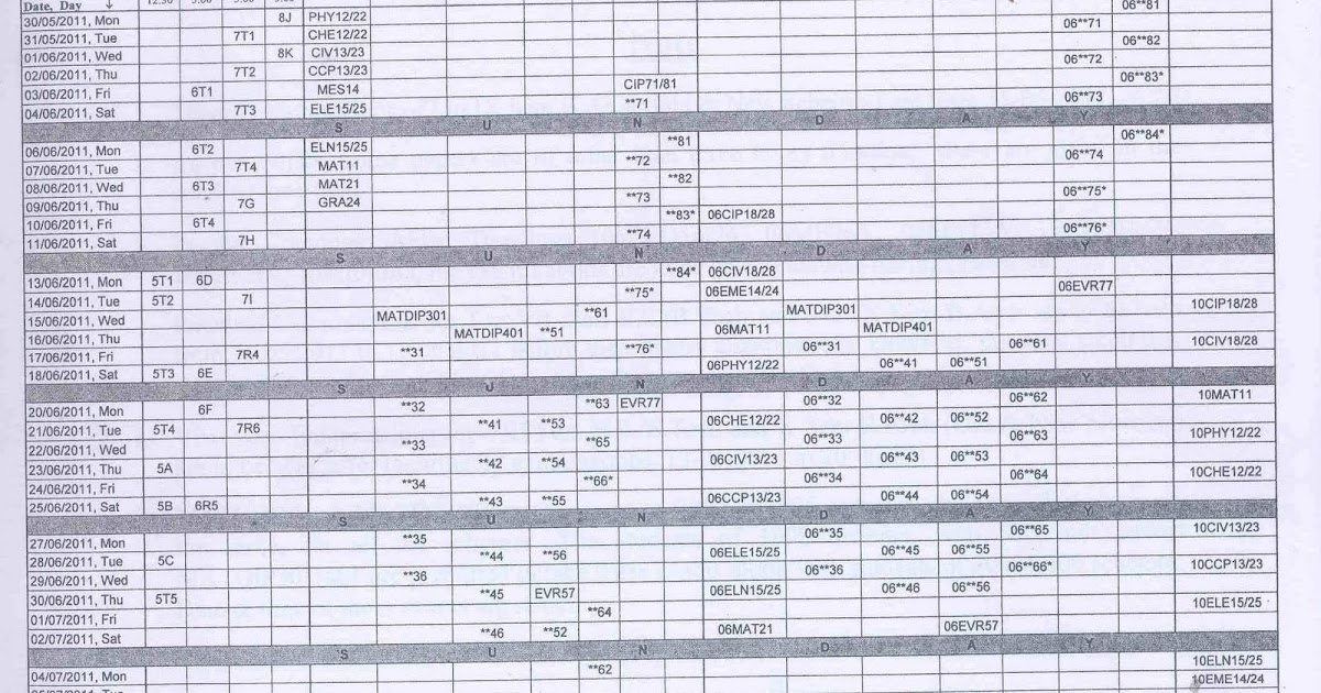 Vtu time table 2011 vtu time table 1st sem b e june 2011 for Rdvv 5th sem time table