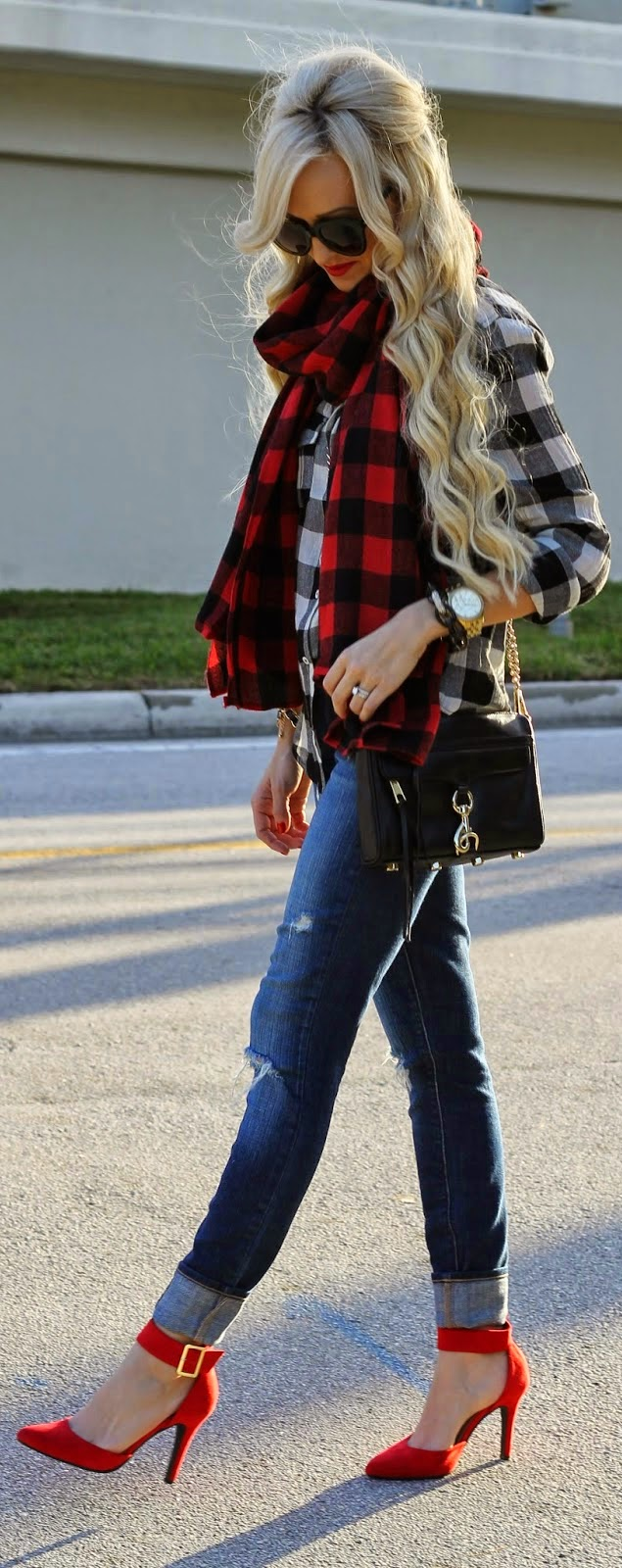 Buffalo Plaid with Ripped Jeans and Pop Red Heels | Street Outfits
