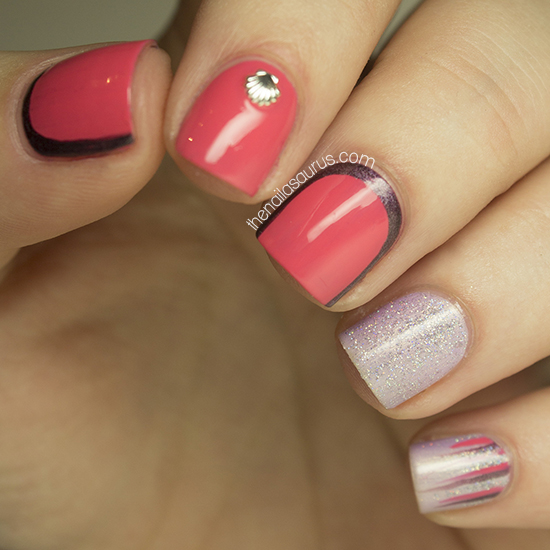 Coral Nail Art with 3.5mm Seashells