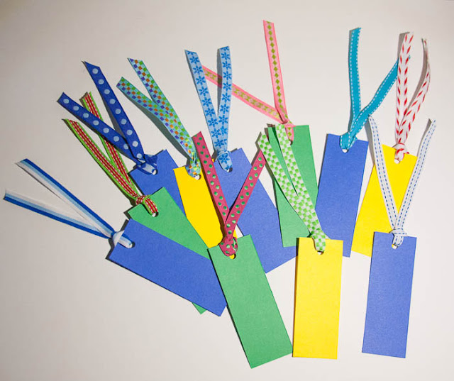 bookmarks of card stock and ribbon