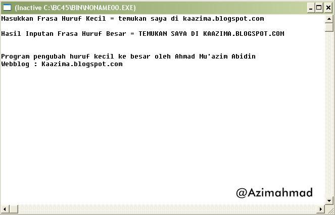 Contoh program C++ sederhana pengubah huruf kecil menjadi huruf besar, Gambar program C++.