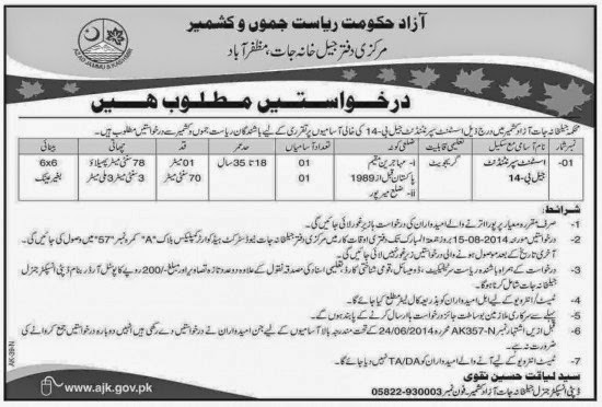 Assistant Superintendent Vacancies in Jails Department of Azad Kashmir