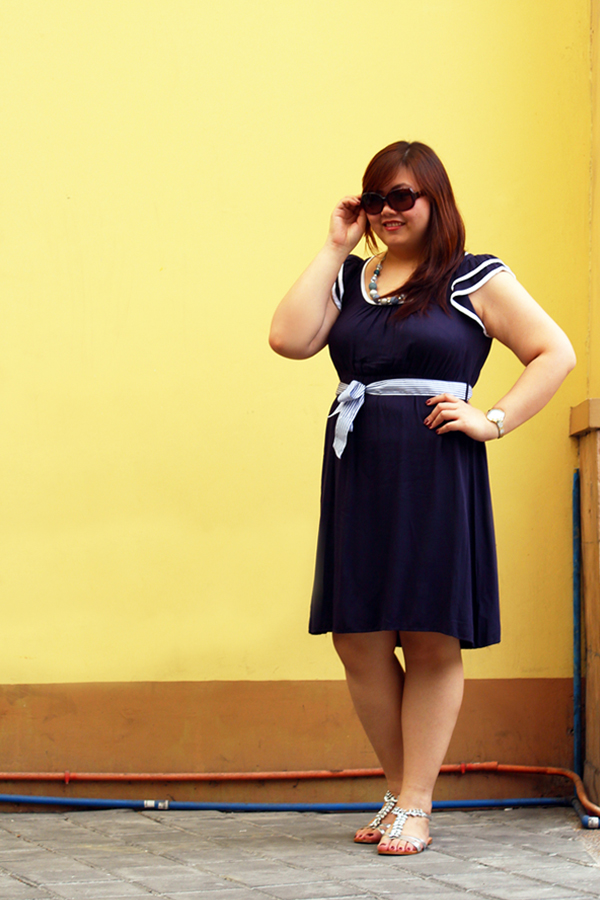 Forever 21 Plus Navy Blue Nautical Dress, Plus Size Nautical Outfit, Steve Madden Silver Bejeweled Sandals, Plus Size Ruffle Sleeves Dress