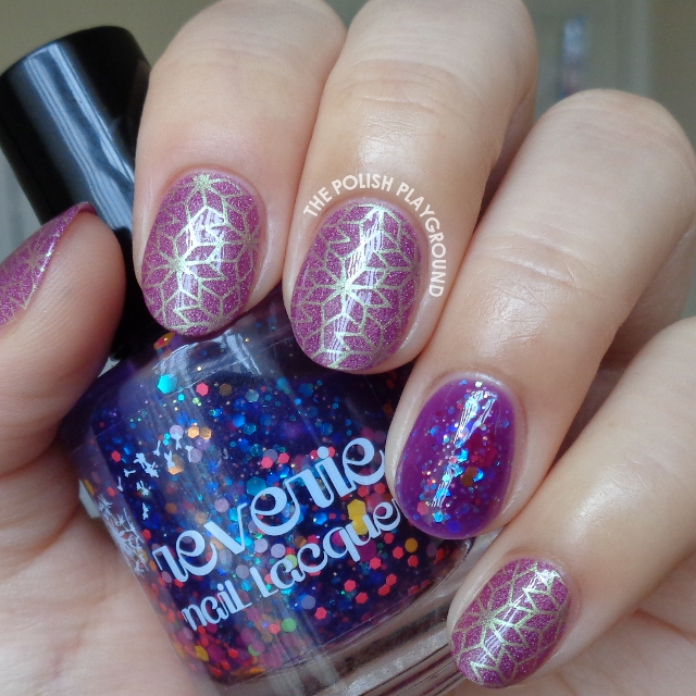 Purple and Gold Star Like Pattern Stamping Nail Art