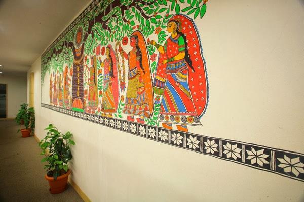 Madhubani folk art mural, Image source http://www.kalamadhyam.org
