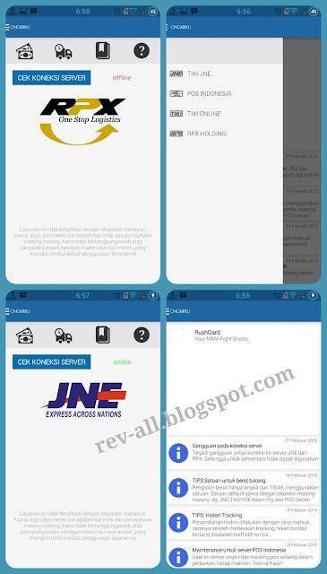 Tampilan aplikasi Ongkirku (untuk mengecek ongkir dan cek resi JNE, TIKI, POS, RPX) di android review oleh rev-all.blogspot.com)