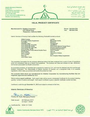 shaklee halal certificate 2013