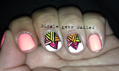 Neon White Art Deco Triangles Pink Nails Nail Art