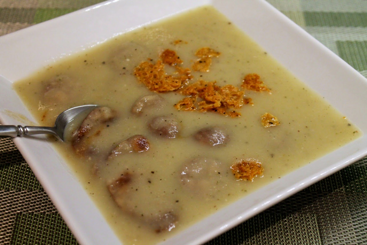 Apple-Potato Soup with Chicken-Apple Sausage and Parmesan Crumble