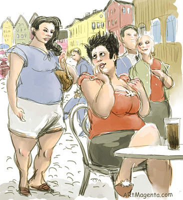 Gossip in the cafe is a caricature by Artmagenta