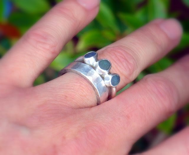 sea glass seaglass blue trio ring