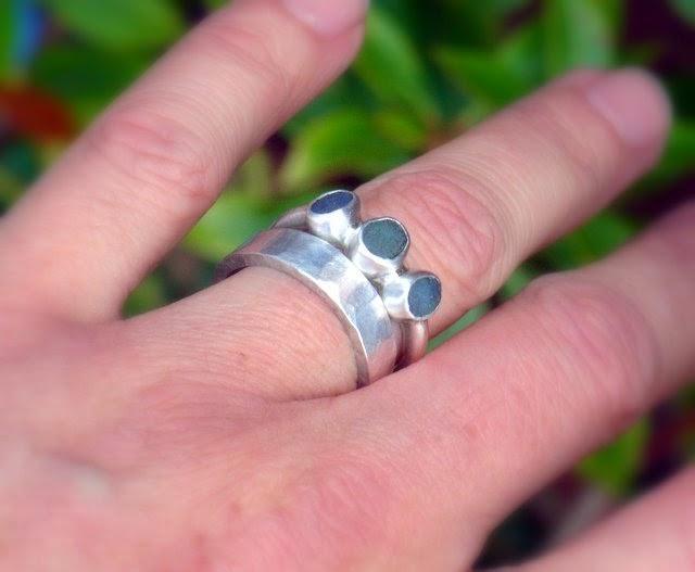 sea glass seaglass blue trio ring