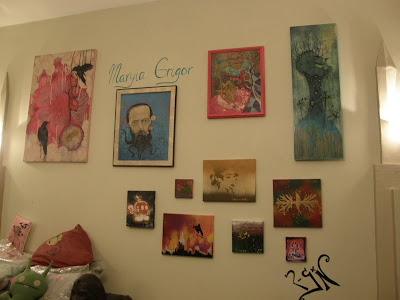 Maryia Grigor's artwork at The Alternative Cafe in Seaside, California