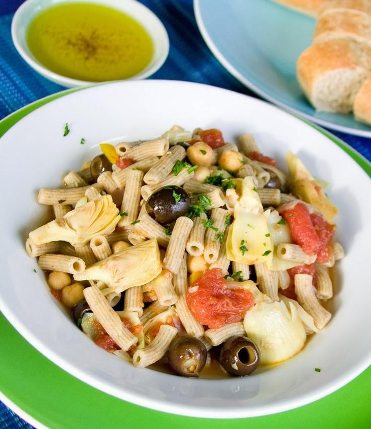 ziti-with-garbanzos-olives-and-artichokes