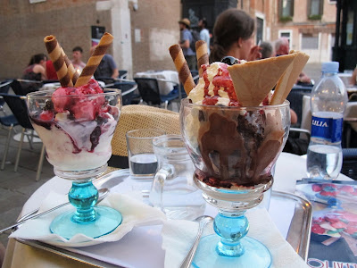 two ice-cream sundaes made with italian ice-cream or gelato