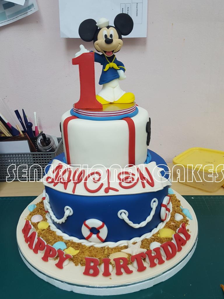 The Sensational Cakes Sugar Crafted Mickey Design 1st Birthday Cake