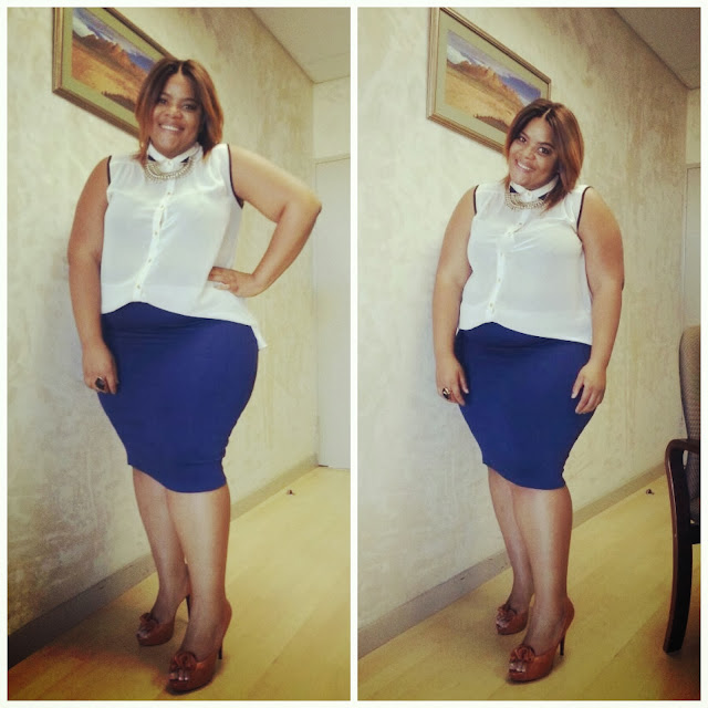 the look, whitney greyton, curvy fashion, african street style, blue pencil skirt