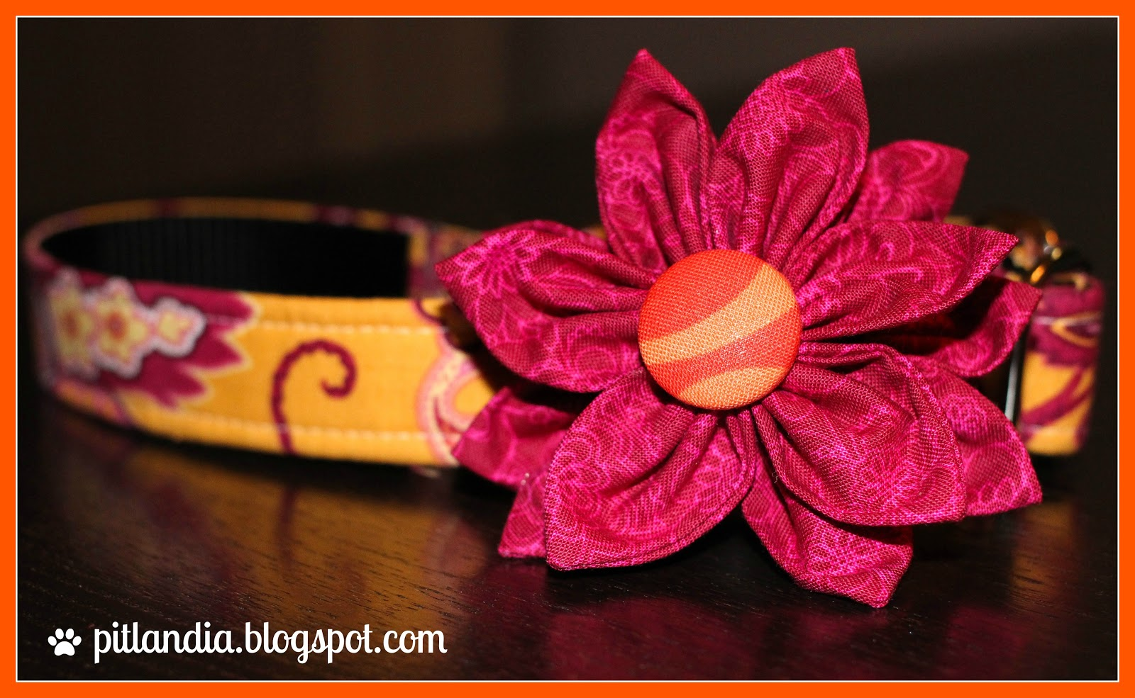 Pitlandia dog collar fabric flower tutorial so far i have made athena quite a few collar flowers in many colors and styles to match all of her outfits people cant help but stop and admire what a dhlflorist Choice Image