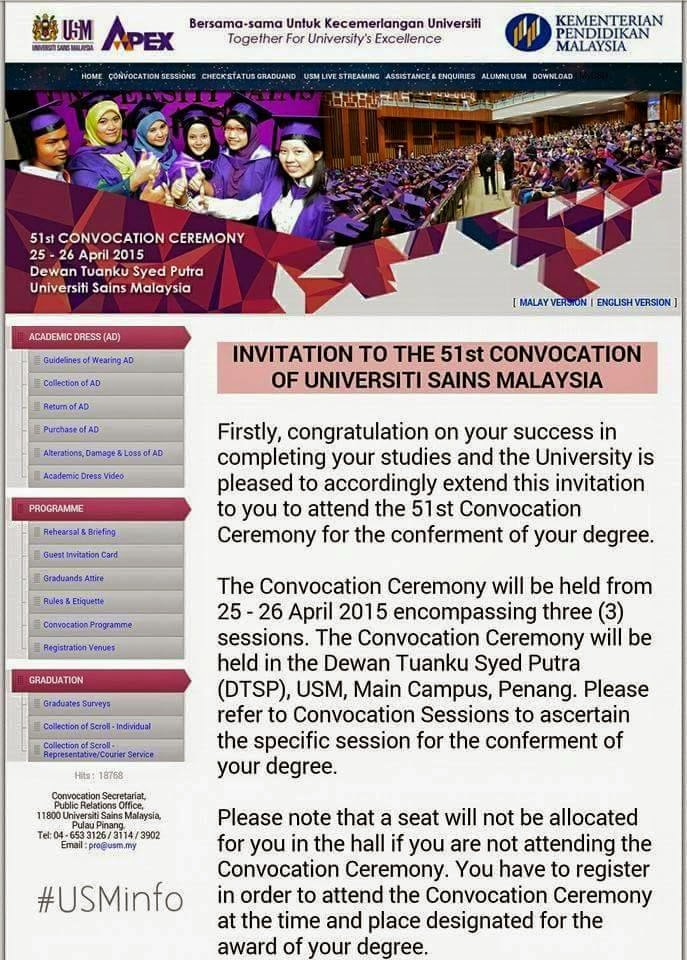 USM kampus induk convocation ceremony kereta sewa penang