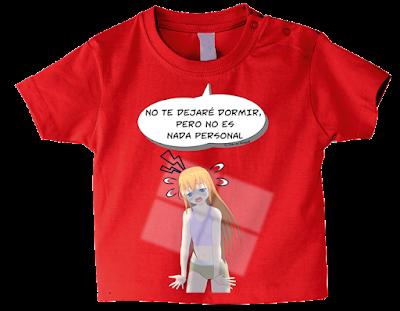 "Camiseta manga corta para bebé ""No dormirás mamá"" color rojo"
