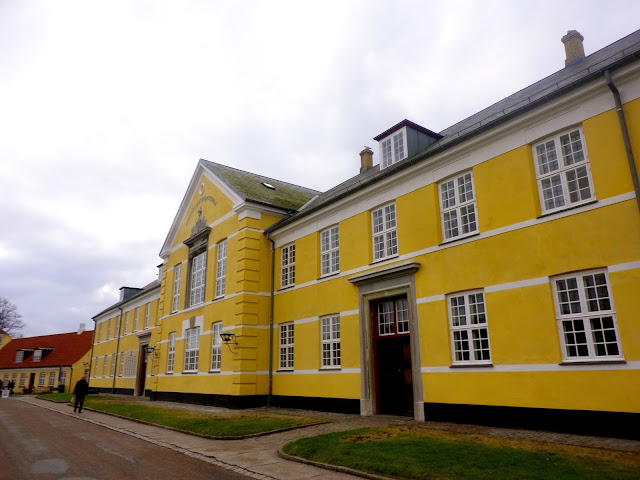 Colourful buildings in the grounds of Kronborg Castle, Helsingor, Copenhagen, Denmark