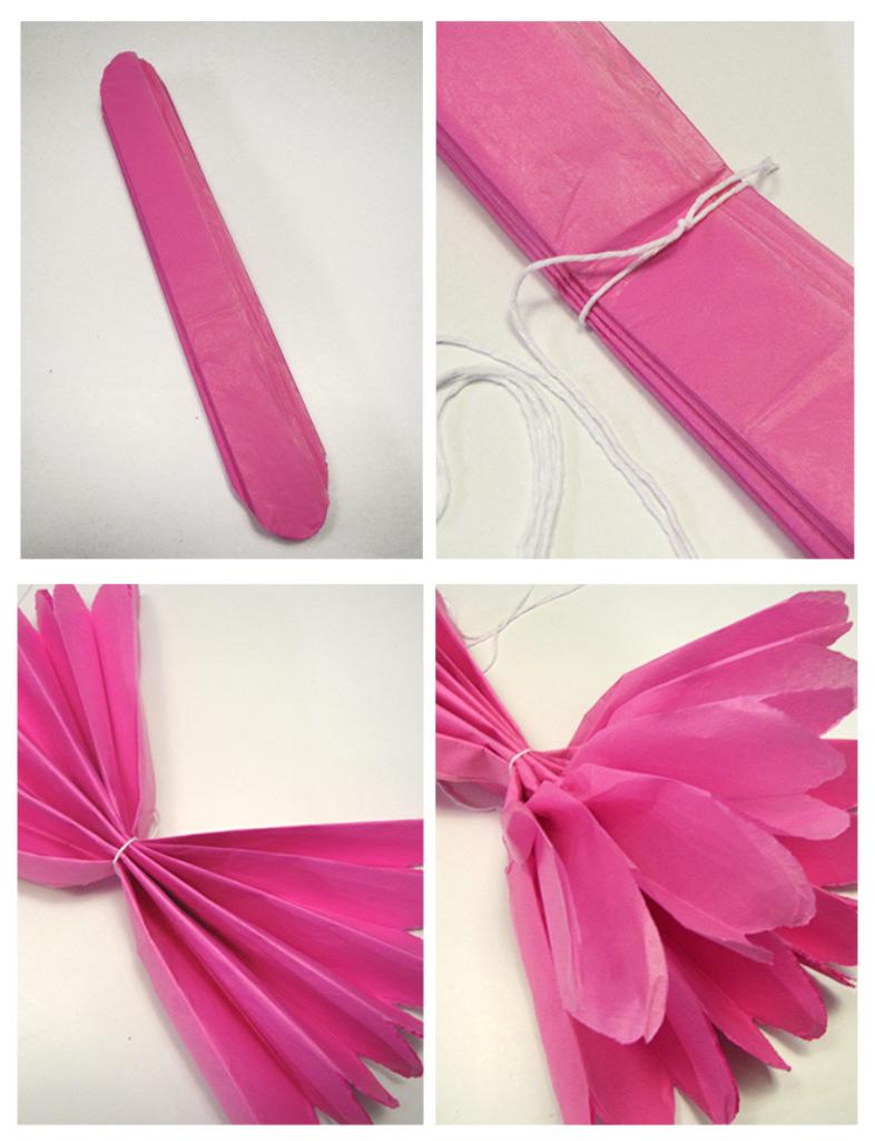 Tutorial de artesan as pompones de papel - Pompones con papel de seda ...