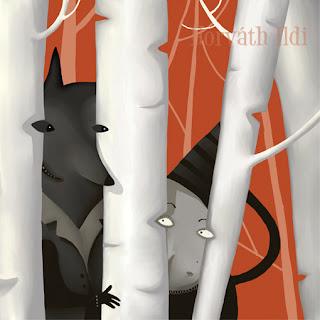 Piroska és a farkas, farkas és nő az erdőben egymással szemeznek, little red riding hood and wolf, together in the forest