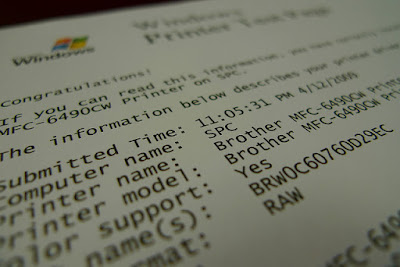 printer of test page windows
