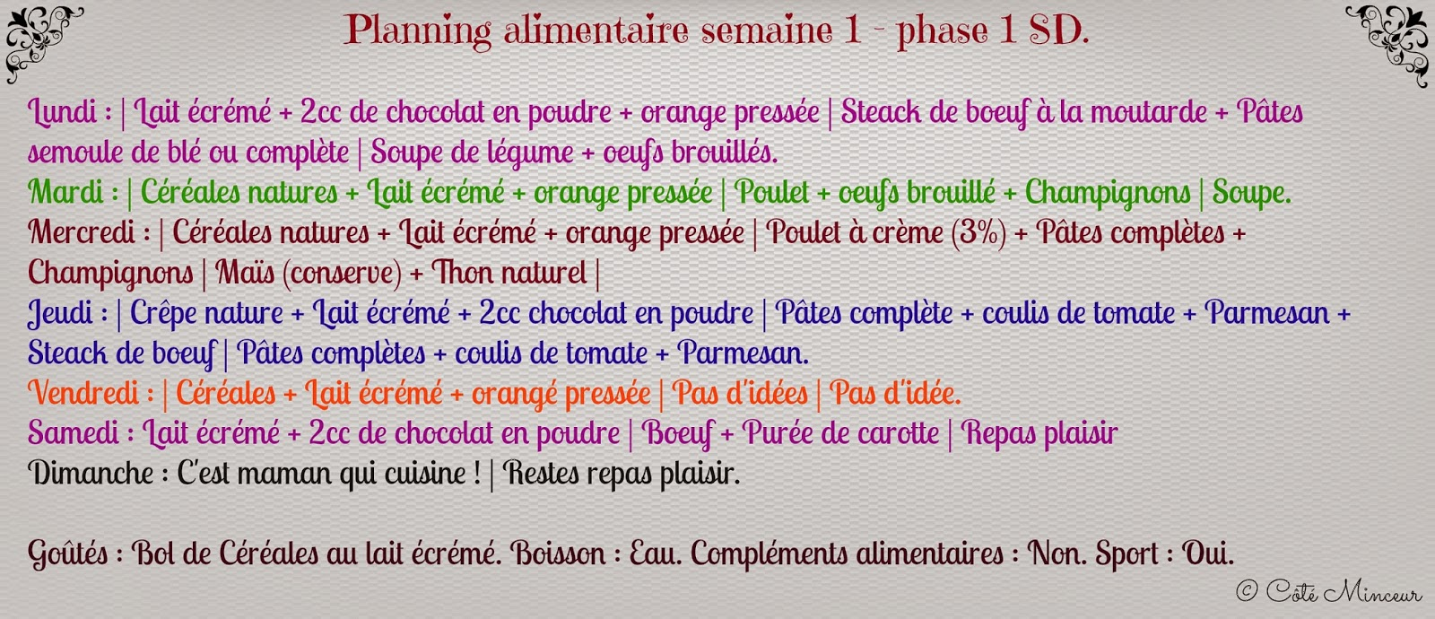 Hervorragend Côté Minceur : Planning alimentaire - Semaine 1 { Phase 1 } CA41