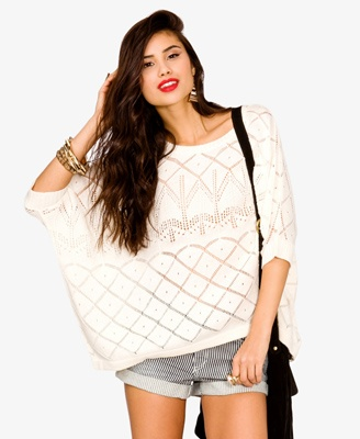 White Doxy Dolman sweater for ladies
