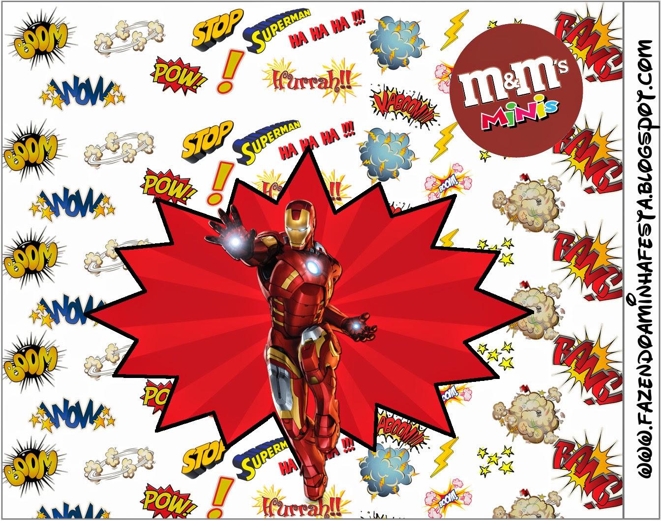 Etiquetas M&M de Iron Man para Imprimir Gratis.