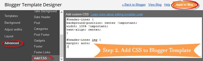 blogger header centered