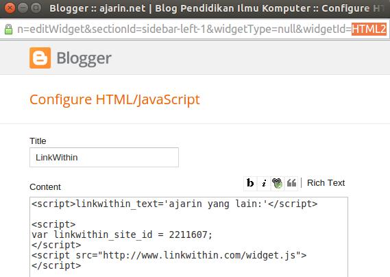 Menghilangkan LinkWithin pada home blog