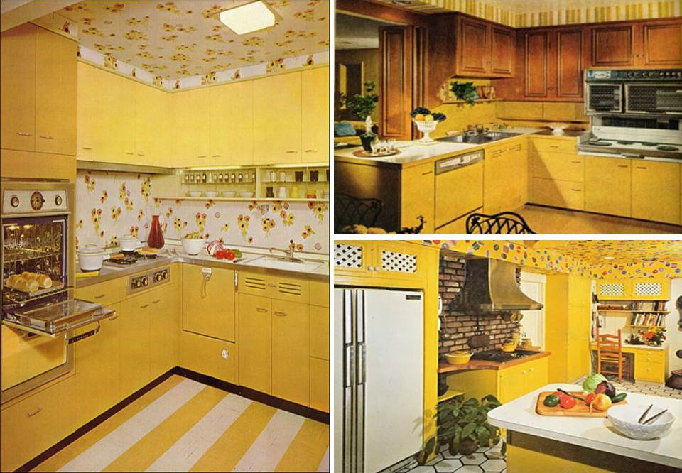 yellow retro kitchens - photo #7
